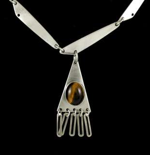 VINTAGE ISRAELI STERLING SILVER TIGERS EYE NECKLACE