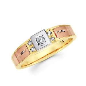 Size  12   14k Yellow Tri 3 Color Gold Diamond Wedding Ring Band .11