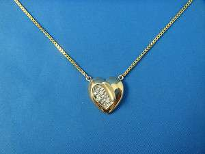 14K YELLOW GOLD AND DIAMOND HEART NECKLACE