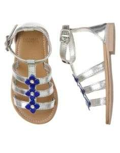 NWT GYMBOREE GREEK ISLE STYLE SILVER SANDALS SHOES SIZE 04 BABY GIRL