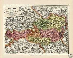 Rare Post WW1 Map of Austria ÖSTERREICH 1920 Very Nice