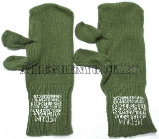 Army Wool M65 Trigger Finger Mitten INSERTS Medium OD Green NEW