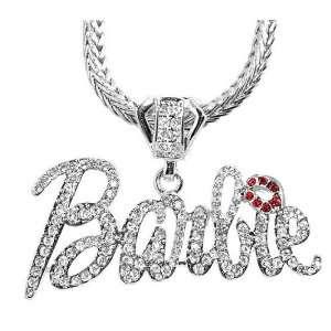 Nicki Minaj Barbie Silver Tone White Crystal 1.5x2.9 Pendant Charm 24