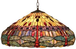 Dragonfly Design Tiffany Style Stain Glass Hanging Lamp