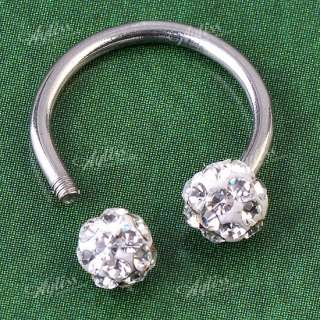 Crystal Ball Hoop Nose Ring Nostril Body Piercing Jewelry Steel