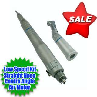 Low Speed Handpiece Straight Nose + Contra Angle Air Motor New