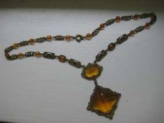 Unique Antique Art Deco Orange Glass Filigree Necklace