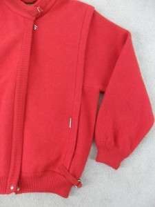 Geiger Size 40 Red Zip Up Jacket Coat 100% Wool Made in Austria