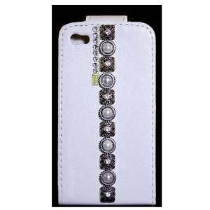 iPhone 4 & 4S White Leather Flip Case, Swarovski Crystal