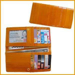 Genuine Eel Skin Leather Very Slim Wallet (ORANGE) FREE