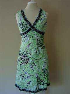 Levine Empire Dress Green Paisley Print Jersey Knit Mint 2P 2 4