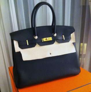 BRAND NEW Black Togo & Gold GHW HERMES BIRKIN Bag Handbag 35cm 100%