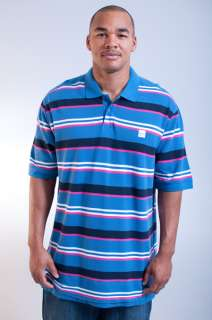 NEW MENS MARITHE FRANCOIS GIRBAUD ROYAL BLUE WHITE STRIPED POLO SHIRT