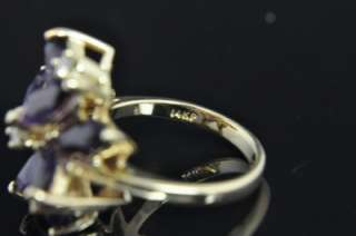 Tru Glo 14K Gold Natural Amethyst Diamond Flower Ring
