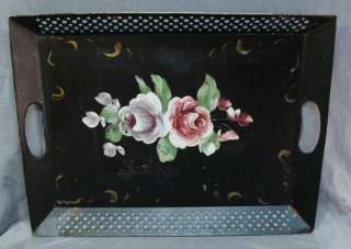 VTG HAND PAINTED TOLE TRAY~TOLEWARE~ROSE FLOWERS~FANCY OPEN WORK EDGES