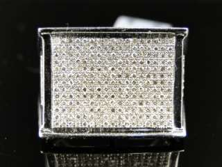 NEW MENS 10K WHITE GOLD ROUND CUT PAVE DIAMOND XL PINKY FASHION RING 1
