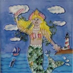 Ceramic Mermaid Sea lighthouse Tile Art Wall 6x6 New