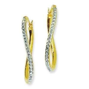 Silver Gold Plated IJ Diamond Hoop Earrings Arts, Crafts & Sewing