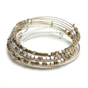 Bling Jewelry Stackable Two Tone Silver Gold Bead Expandable Wire