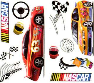 24 BiG NASCAR WALL STICKERS Racing Cars  Room DECAL SET