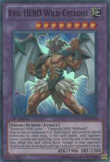 Evil HERO Wild Cyclone LCGX EN070 Super Rare Near Mint