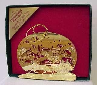 Hallmark Christmas Sleigh Ornament Gold Over Brass