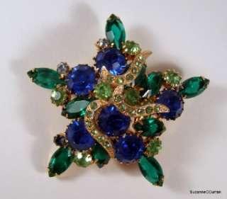 Vintage Designer Blue & Green Rhinestone Pin w Icing