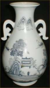 White Handpainted Japanese Arita Vase w Mt. Fuji