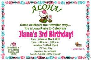 Hello Kitty Invitations Birthday Party Luau Hawaiian