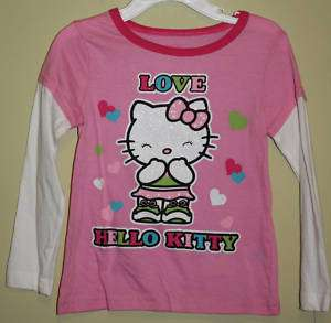Sanrio Hello Kitty Pink Love Long Sleeve Shirt Sz 4 5 6