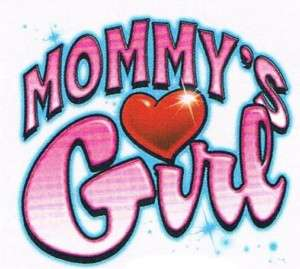 MOMMYS GIRL Love Heart Girls Kids Baby Teen Funny Tee