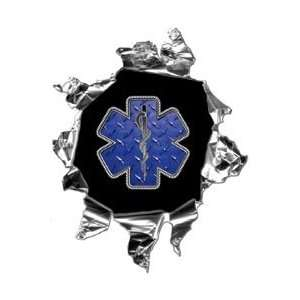 Mini Ripped Torn Metal Decal EMT EMS Star of Life Graphic