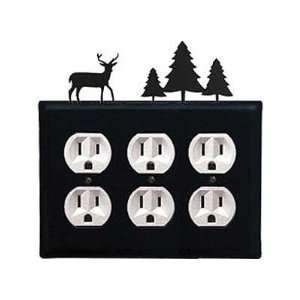 Deer and Piecene Trees   Triple Outlet Electric Cover