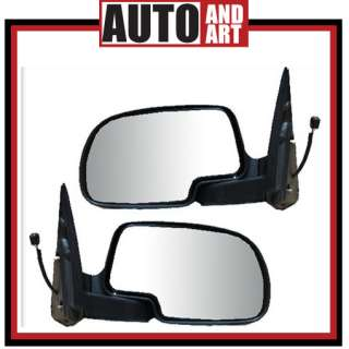 Set Black/Chrome Power Side View Mirror Assembly 99 02 GM Pickup Truck