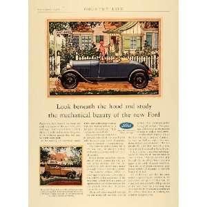 1928 Ad Arabian Sand Ford Tudor Sedan Motor Blue Car