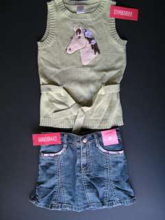 Gymboree Girls Cowgirls @ Heart Horse Sweater & Jean Skirt Outfit, NWT