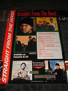 RARE EARLY GANGSTA RAP promo poster ICE CUBE Straight from the Hood