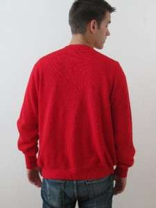 EXCELLENT VTG 80s IZOD LACOSTE RED WOOL KNIT BUTTON CARDIGAN SWEATER