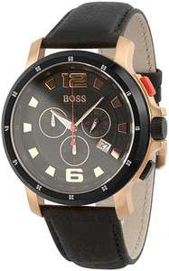 HUGO BOSS MENS BLACK LEATHER ROSE GOLD CHRONOGRAPH WATCH 1512509
