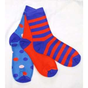 Childrens Mismatched Socks Colorful Stripes and Dots in Purple, Blue