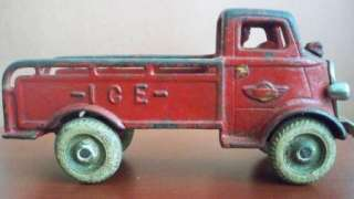 ANTIQUE CAST IRON RED ARCADE ICE Delivery TRUCK TOY CAR USA