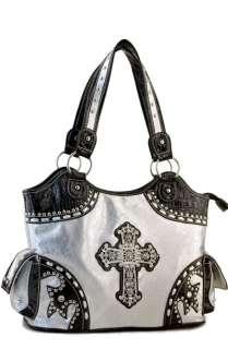 Black Cross Rhinestone Celebrity Belt Faux Leather Western Handbag