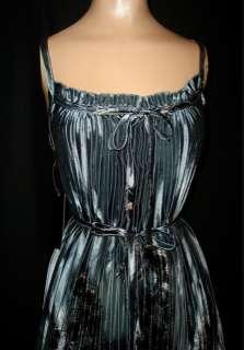 PEACOCK FEATHER Silver LIQUID SATIN Full Sweep PLEAT Sun DRESS Belt