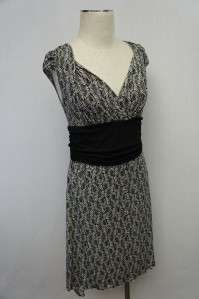 Max Studio Blac/White Criss Cross Sleeve Dress Sz M