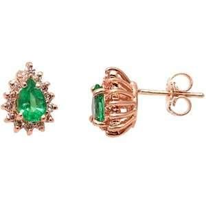 14K Yellow Gold Emerald and Diamond Earrings Jewelry
