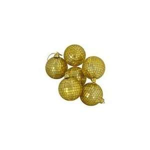 Pack of 6 Gold Mirrored Glass Disco Ball Christmas