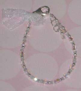 Newborn Baby Bracelet Sterling Silver Clasp Clear Crystal Beads 4 NIP