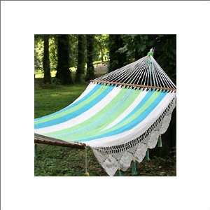 Deluxe Mayan Hammock with Wood Oatmeal, Lime Green, Pastel