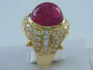 Magnificent 18k. Yellow Gold Cabochon Pink Tourmaline & Diamond Ring