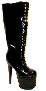 NEW BLACK PATENT PLATFORM KNEE HIGH BOOTS WOMEN SHOES 6